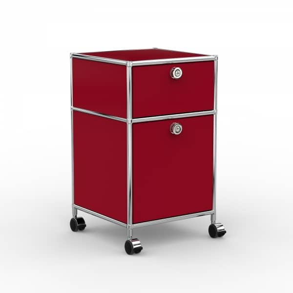 Rollcontainer - Design 40cm - 1xES 1xES2 (AHR) - Metall - Rubinrot (RAL 3003)