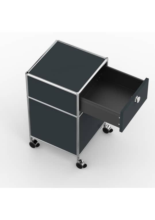 Rollcontainer - Design 40cm - 1xES 1xES2 (AHR) - Metall - Anthrazitgrau (RAL 7016)