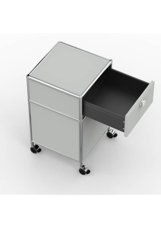 Rollcontainer - Design 40cm - 1xES 1xES2 (AHR) - Metall - Lichtgrau (RAL 7035)