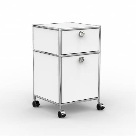 Rollcontainer - Design 40cm - 1xES 1xES2 (AHR) - Metall - Signalweiss (RAL 9003)
