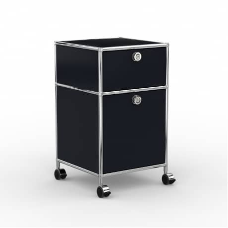 Rollcontainer - Design 40cm - 1xES 1xES2 (AHR) - Metall - Graphitschwarz (RAL 9011)