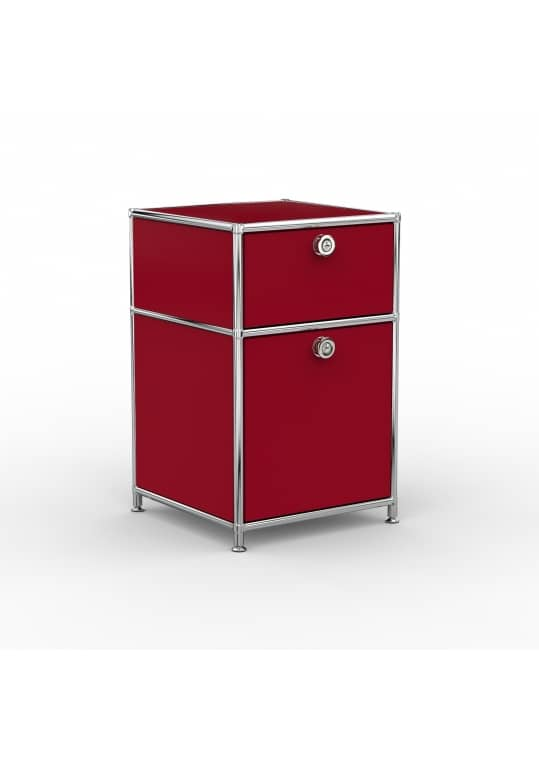 Standcontainer - Design 40cm - 1xES 1xHG (ASF) - Metall - Rubinrot (RAL 3003)