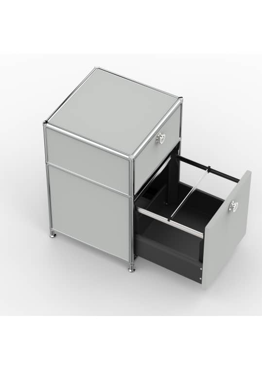 Standcontainer - Design 40cm - 1xES 1xHG (ASF) - Metall - Lichtgrau (RAL 7035)