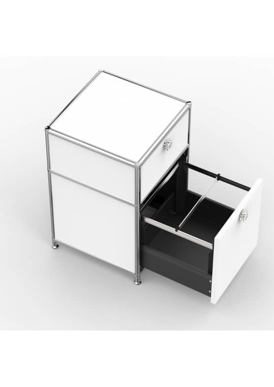 Standcontainer - Design 40cm - 1xES 1xHG (ASF) - Metall - Signalweiss (RAL 9003)