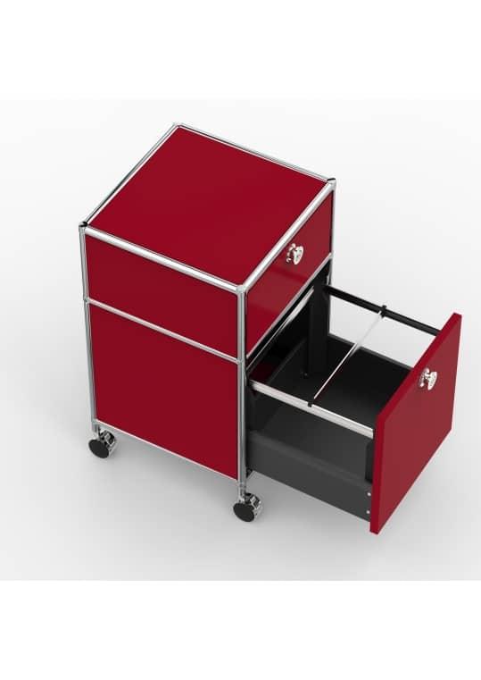 Rollcontainer - Design 40cm - 1xES 1xHG (AWR) - Metall - Rubinrot (RAL 3003)