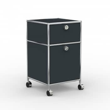 Rollcontainer - Design 40cm - 1xES 1xHG (AWR) - Metall - Anthrazitgrau (RAL 7016)