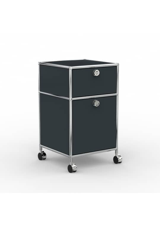 Rollcontainer - Design 40cm - 1xES 1xHG (AWR) - Metall - Anthrazitgrau (RAL 7016)