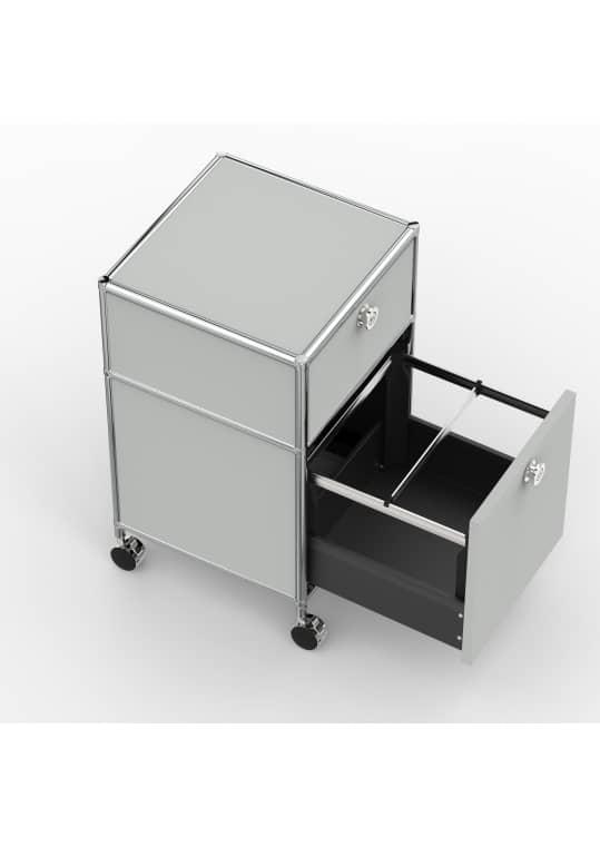 Rollcontainer - Design 40cm - 1xES 1xHG (AWR) - Metall - Lichtgrau (RAL 7035)