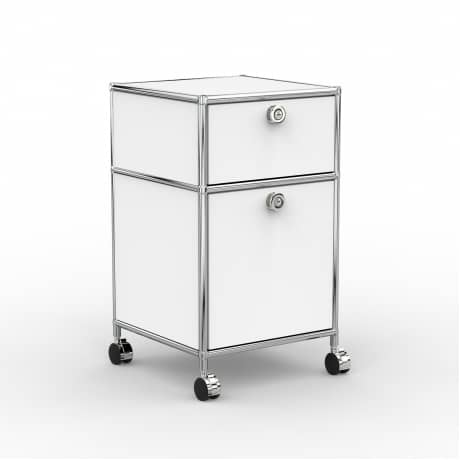 Rollcontainer - Design 40cm - 1xES 1xHG (AWR) - Metall - Signalweiss (RAL 9003)