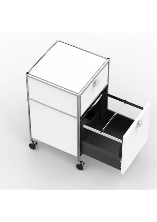 Rollcontainer - Design 40cm - 1xES 1xHG (AWR) - Metall - Signalweiss (RAL 9003)