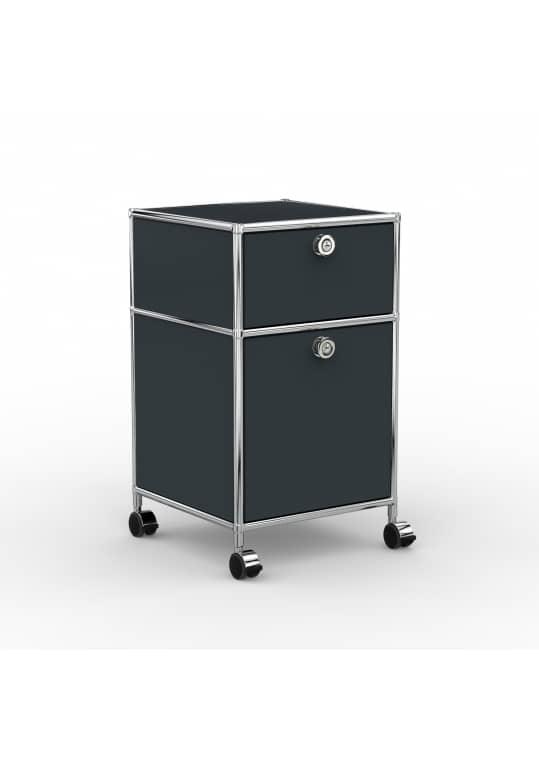 Rollcontainer - Design 40cm - 1xES 1xHG (AHR) - Metall - Anthrazitgrau (RAL 7016)