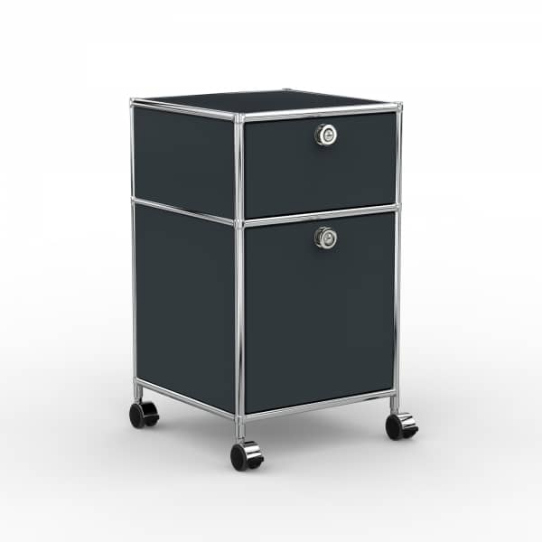 Rollcontainer - Design 40cm - 1xES 1xHG (AHR) - Metall - Anthrazitgrau (RAL 7016)