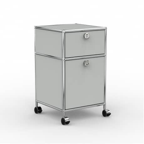 Rollcontainer - Design 40cm - 1xES 1xHG (AHR) - Metall - Lichtgrau (RAL 7035)