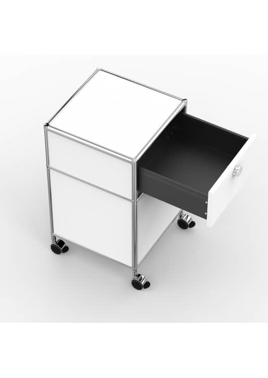 Rollcontainer - Design 40cm - 1xES 1xHG (AHR) - Metall - Signalweiss (RAL 9003)
