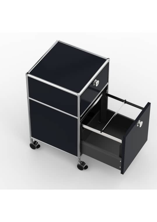 Rollcontainer - Design 40cm - 1xES 1xHG (AHR) - Metall - Graphitschwarz (RAL 9011)