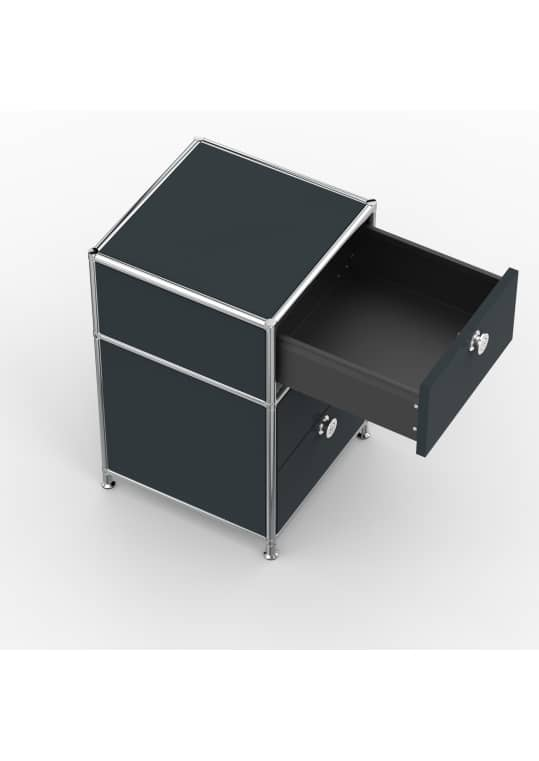 Standcontainer - Design 40cm - 1xES 1xDS (ASF) - Metall - Anthrazitgrau (RAL 7016)