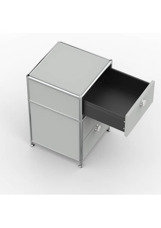 Standcontainer - Design 40cm - 1xES 1xDS (ASF) - Metall - Lichtgrau (RAL 7035)