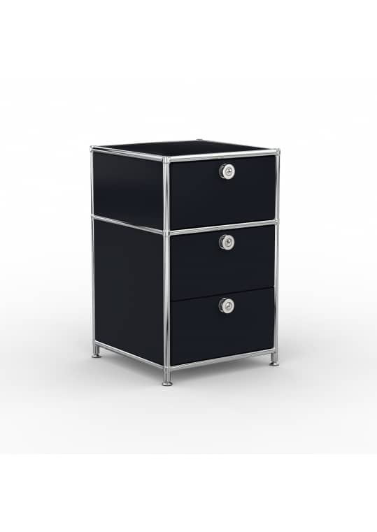Standcontainer - Design 40cm - 1xES 1xDS (ASF) - Metall - Graphitschwarz (RAL 9011)