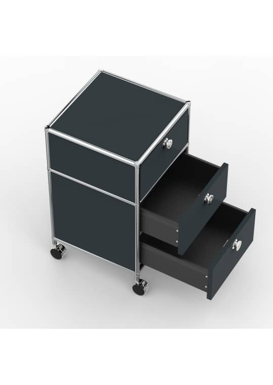 Rollcontainer - Design 40cm - 1xES 1xDS (AWR) - Metall - Anthrazitgrau (RAL 7016)
