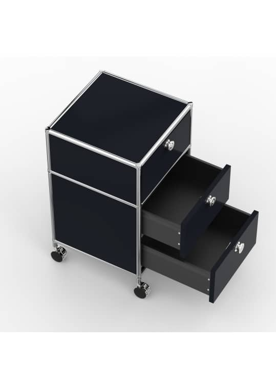 Rollcontainer - Design 40cm - 1xES 1xDS (AWR) - Metall - Graphitschwarz (RAL 9011)