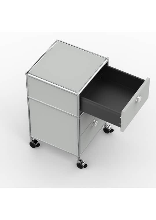 Rollcontainer - Design 40cm - 1xES 1xDS (AHR) - Metall - Lichtgrau (RAL 7035)