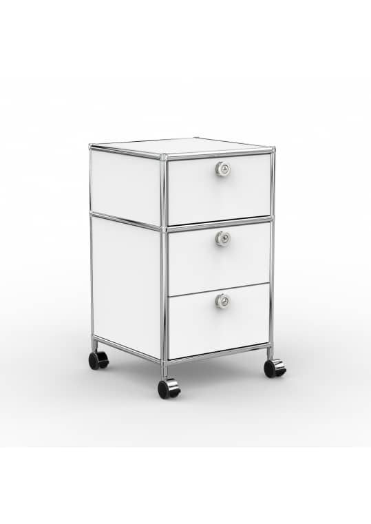 Rollcontainer - Design 40cm - 1xES 1xDS (AHR) - Metall - Signalweiss (RAL 9003)