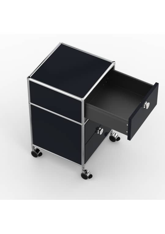 Rollcontainer - Design 40cm - 1xES 1xDS (AHR) - Metall - Graphitschwarz (RAL 9011)