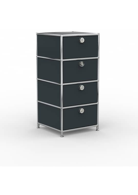 Standcontainer - Design 40cm - 4xES (ASF) - Metall - Anthrazitgrau (RAL 7016)