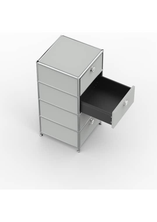 Standcontainer - Design 40cm - 4xES (ASF) - Metall - Lichtgrau (RAL 7035)