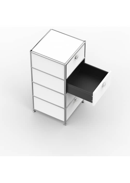 Standcontainer - Design 40cm - 4xES (ASF) - Metall - Signalweiss (RAL 9003)