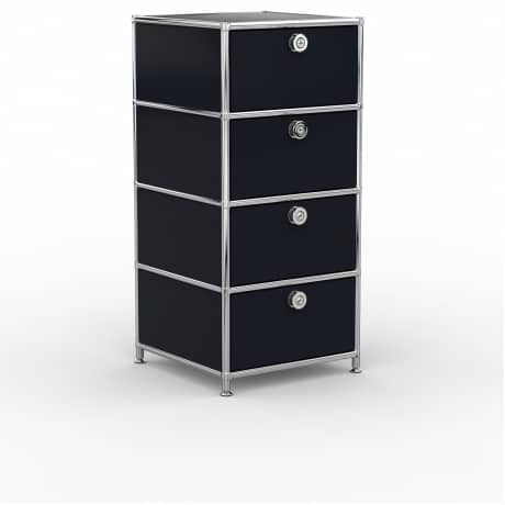 Standcontainer - Design 40cm - 4xES (ASF) - Metall - Graphitschwarz (RAL 9011)