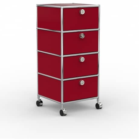 Rollcontainer - Design 40cm - 4xES (AWR) - Metall - Rubinrot (RAL 3003)