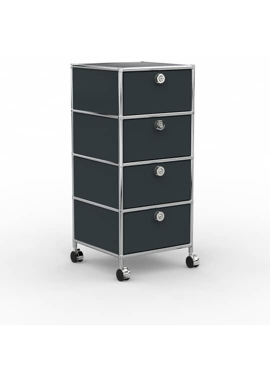 Rollcontainer - Design 40cm - 4xES (AWR) - Metall - Anthrazitgrau (RAL 7016)