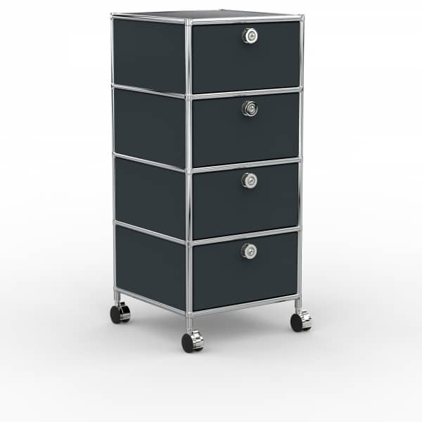 Rollcontainer - Design 40cm - 4xES (AWR) - Metall - Anthrazitgrau (RAL 7016)