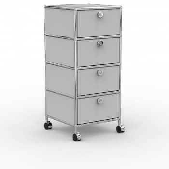Rollcontainer - Design 40cm - 4xES (AWR) - Metall - Lichtgrau (RAL 7035)
