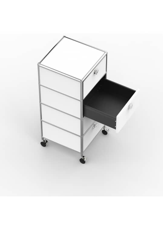 Rollcontainer - Design 40cm - 4xES (AWR) - Metall - Signalweiss (RAL 9003)