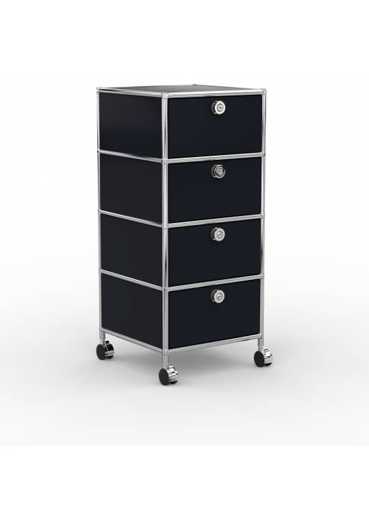 Rollcontainer - Design 40cm - 4xES (AWR) - Metall - Graphitschwarz (RAL 9011)