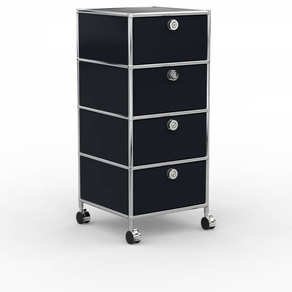 Rollcontainer Design 40cm - 4xES (AWR) - Metall - Graphitschwarz (RAL 9011)