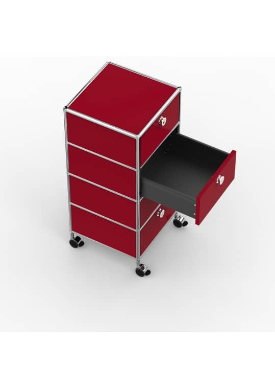 Rollcontainer - Design 40cm - 4xES (AHR) - Metall - Rubinrot (RAL 3003)