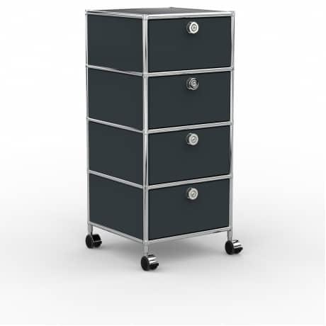 Rollcontainer - Design 40cm - 4xES (AHR) - Metall - Anthrazitgrau (RAL 7016)