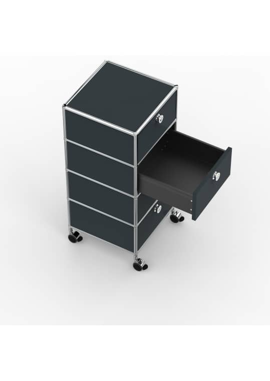 Rollcontainer - Design 40cm - 4xES (AHR) - Metall - Anthrazitgrau (RAL 7016)