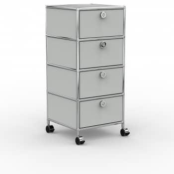 Rollcontainer - Design 40cm - 4xES (AHR) - Metall - Lichtgrau (RAL 7035)