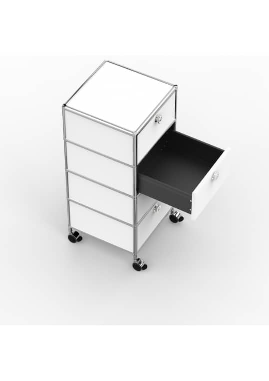 Rollcontainer - Design 40cm - 4xES (AHR) - Metall - Signalweiss (RAL 9003)