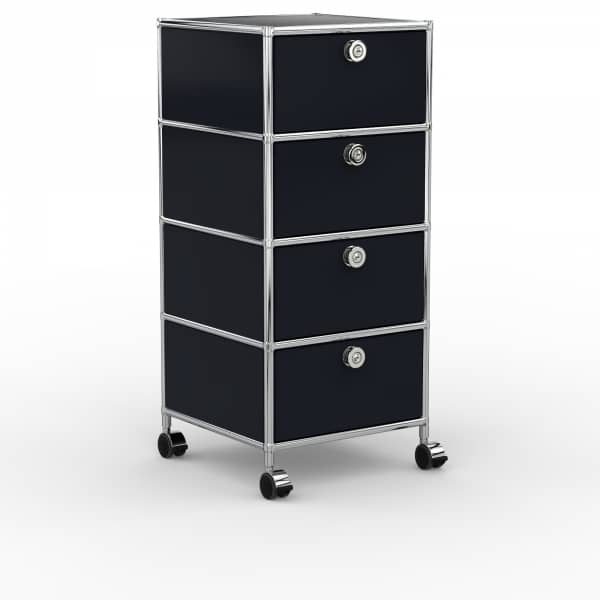 Rollcontainer - Design 40cm - 4xES (AHR) - Metall - Graphitschwarz (RAL 9011)
