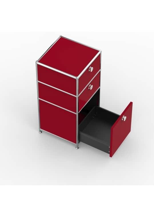 Standcontainer - Design 40cm - 2xES 1xES2 (ASF) - Metall - Rubinrot (RAL 3003)