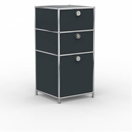 Standcontainer - Design 40cm - 2xES 1xES2 (ASF) - Metall - Anthrazitgrau (RAL 7016)