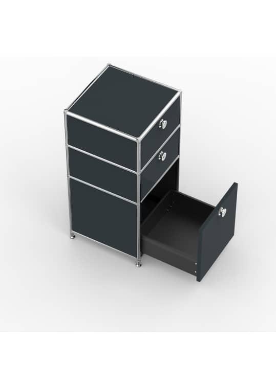Standcontainer - Design 40cm - 2xES 1xES2 (ASF) - Metall - Anthrazitgrau (RAL 7016)