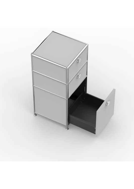 Standcontainer - Design 40cm - 2xES 1xES2 (ASF) - Metall - Lichtgrau (RAL 7035)