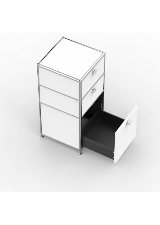 Standcontainer - Design 40cm - 2xES 1xES2 (ASF) - Metall - Signalweiss (RAL 9003)