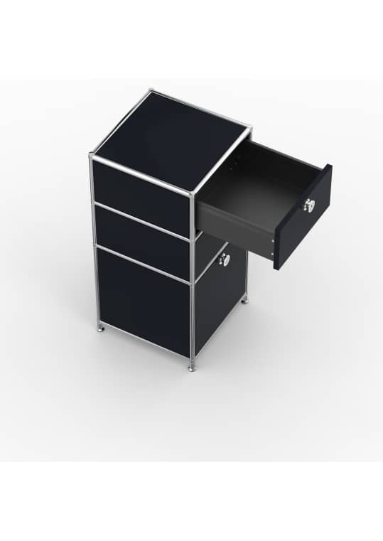 Standcontainer - Design 40cm - 2xES 1xES2 (ASF) - Metall - Graphitschwarz (RAL 9011)